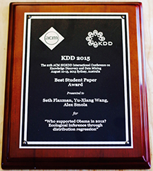 ML Team Brings Home a Best Student Paper Award from KDD 2015