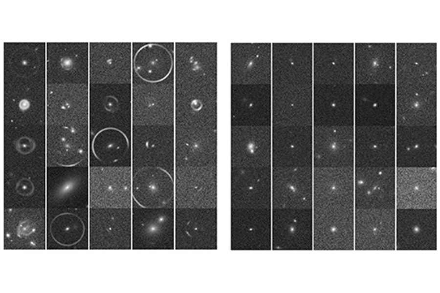CMU DeepLens was able to discern between strong gravitational lenses (left) and objects that aren't lenses (right).
