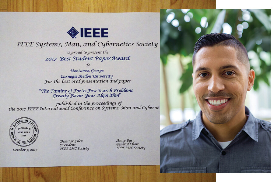 Photo of George Montañez and his Best Student Paper award