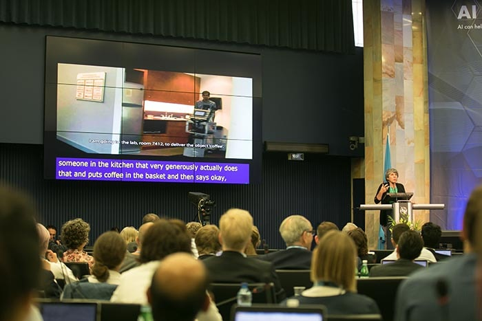Photo of Manuela Veloso and Presentation Video at AI for GOOD Summit