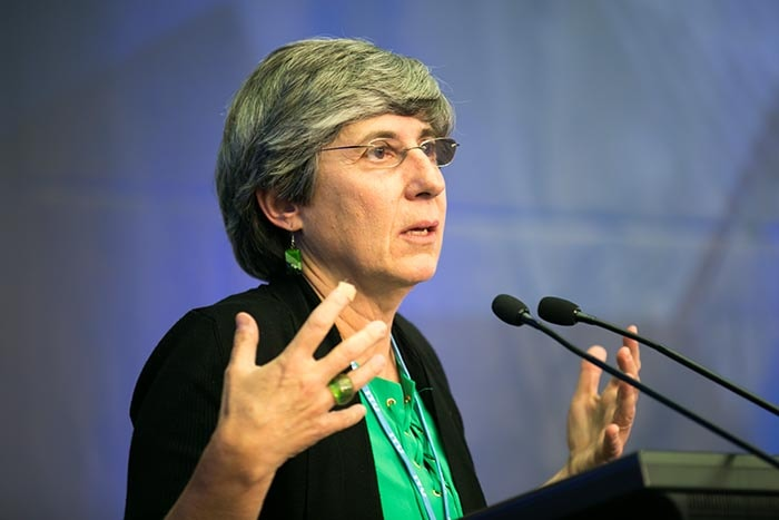 Photo of Manuela Veloso speaking at AI for GOOD Summit
